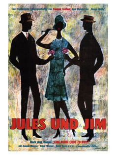 Jules and Jim, German Movie Poster, 1961 Pôsters na AllPosters.com.br