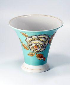 Schaubach Kunst Vase German Porcelain Vase Trumpet Vase