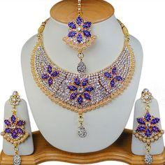 Indian Qamees Jewellery S230 Gold Tone Blue Aaliya Jewellery Set