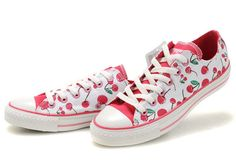 Discount Kicksregal net Wholesale Converse Cherry Chuck Taylor All Star Girl Glacier White Bright Pink Canvas Low Top Online Converse Store, Cool Converse, Outfits With Converse, Converse Sneakers, Casual Sneakers, Sneakers Fashion, Vans, White Converse, Floral Converse