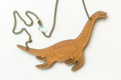 Plesiosaur Skeleton Necklace   Dinosaur of the Sea, Bone Jewellery. Laser Cut Wood Dinosaur Necklace. Statement Necklace.