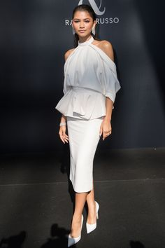 Inspired by Zendaya Celebrity Dresses High Neck White Cutout Prom Dresses Evening Formal Gowns Prom Dresses Long Pink, Formal Dresses For Teens, Backless Prom Dresses, Formal Evening Dresses, Elegant Dresses, Formal Gowns, Party Dresses, Club Dresses, Bridesmaid Dresses