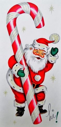 Vintage Candy Cane. Candy Cane and Santa. Retro Christmas Card.