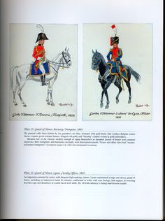 National Guard, Schools, Guards of Honor: Plate 15: Guard of Honor, Antwerp, Trumpeter, 1803. + Plate 16: Guard of Honor, Lyons, Cavalry Officer, 1805.