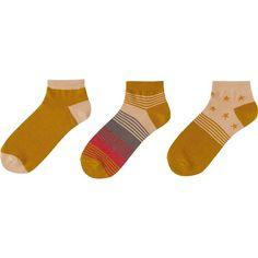 UNIQLO Women Short Socks 3pack (Multi Star) ($13) ❤ liked on Polyvore featuring intimates, hosiery, socks, yellow, uniqlo, tennis socks, cotton socks, short socks and uniqlo socks