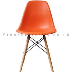 Charles Ray Eames Style DSW Side Chair Natural legs - Orange