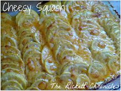 Cheesy squash.  onion, squash, cheese.  bake covered 400 for 30 minutes. uncover, add cheese, bake add'l 15-20 min.