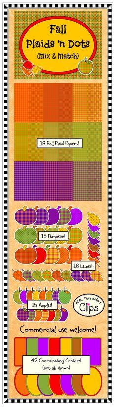 Fall Plaid 'n Dots Mix & Match Collection - 100+ images! $ http://www.teacherspayteachers.com/Product/Clip-Art-Fall-Plaid-n-Dots-Mix-Match-Collection-842512