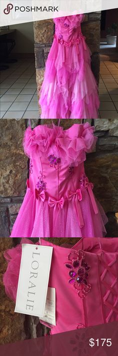 ✨NWT Cinderella dress✨ Hot pink formal dress new with tags. Lots of stones and glitter tulle. New with tags. Perfect for prom or pageant - has a Cinderella feel! Loralie Dresses Prom
