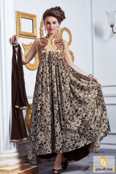 #Cream #Brown Digital Print Wedding Gown Collection 2016 #gown, #gownonline, #promdresses, #bridal, #bridalwear, #receptiongown, #vibrant, #party, #wedding, #partyoutfits, #latest, #shaddi, #newcollection,   #western, #westernstyle, #eveninggown More Product : http://www.pavitraa.in/store/anarkali-salwar-suit/ Call / WhatsApp : +91-76982-34040
