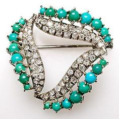 Vintage Estate Natural Turquoise & Diamond Brooch Pin Solid 18K White Gold