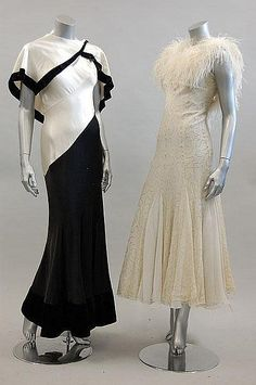 ~Two 1930s style evening gowns via Kerry Taylor Auctions~