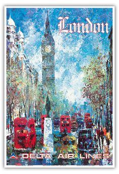 London, England - Delta Air Lines - Big Ben Elizabeth Tower - Vintage Airline Travel Poster by Jack Laycox c.1970s - Master Art Print - 12in x 18in