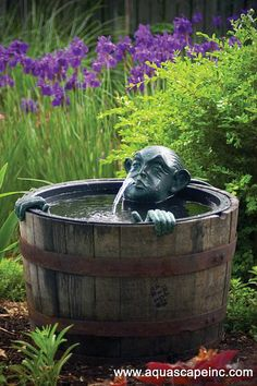 Garden fountains add a distinct element of elegance. Wall fountains are perfect for gardens, patios, or balconies. Indoor and Outdoor garden fountains and decor. Diy Water Feature, Backyard Water Feature, Pond Spitters, Patio Pond, Backyard Patio, Barrel Fountain, Water Barrel, Fairy Fountain, Rain Barrel
