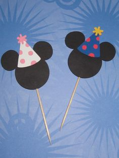 Mickey Mouse and Minnie Mouse with Party Hats
