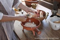 """The marrow spoon is the perfect tool for extracting the marrow that will be """"melted"""" in the redware skillet."""