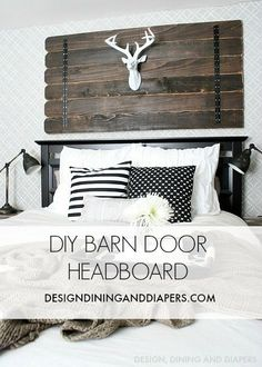 DIY BARN DOOR Headboard from Design, Dining, and Diapers #DIY