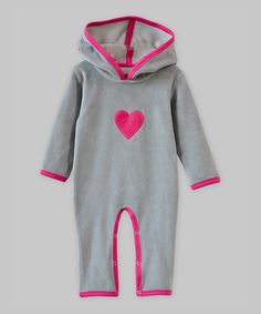 Look at this #zulilyfind! Light Gray & Pink Heart Velour Hooded Playsuit - Infant #zulilyfinds