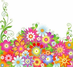 Borders For Poster Flower | ... reading 'Abstract Colorful Flowers Vector Illustration