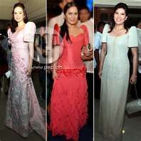 Filipiniana goes back to basics at the 2011 SONA Filipiniana Wedding, Filipiniana Dress, I Dress, Dress Outfits, Prom Dresses, Formal Dresses, Fashion And Beauty Tips, Celebrity Houses, Beautiful Gowns