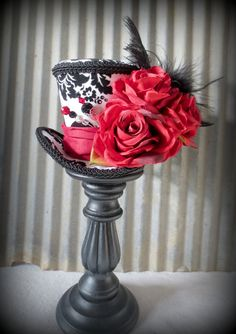 Queen of Hearts Mini Top Hat, Tea Party Mini Top Hat, Mad Hatter Hat, Alice in Wonderland, LARP, Renaissance Hat, Red Rose