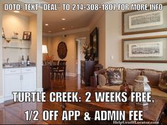 """Deal of the Day: TURTLE CREEK: 2 WEEKS FREE & 1/2 OFF application and administration fee. Apartment is paying 100% of 1 months rent as commission 1/2 of which is urs as a thank you for using our services. NOTES: 24hr. Concierge Service Reserved Parking. Valet/Bell Captain Services Dog Walker.  Don't forget to put down """"Help Urself Leasing"""" when filling out ur lease application to get back 50% of the commission we earn from ur referral. Check out our website for details.  #leasing #rent…"""