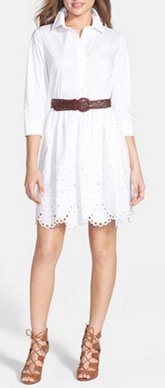 Love this belted shirtdress with eyelet hem detail http://rstyle.me/n/jtksmnyg6