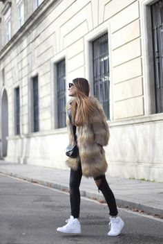 fur coat, sneakers, Nike ultra white trainers