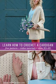 Worked in vertical rows, this free crochet pattern creates a lightweight sweater that's perfect for spring or summer. The step-by-step video tutorial goes slow enough you'll be able to learn lots of new techniques. #crochet #sweater #cardigan #summer #spring #lightweight #video #tutorial #videotutorial #buttons #lionbrand
