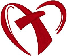 Cross in Heart Embroidery Design. A modern representation of the ability of Jesus to bring us comfort and peace.
