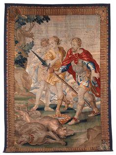 310 x 210 cm. Flandern, 17./ 18. Jahrhundert. Hochformatiger Bildteppich mit elegant schlichter Rahmung, bei der ein äußerer Perlstab umzieht, in den Ecken...