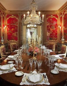Red, chinoiserie dining room