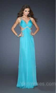 Chiffon Blue Halter Natural Sleeveless Evening Dresses ykdress6369