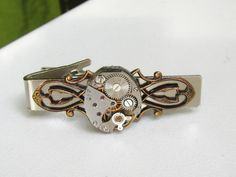 Steampunk Tie Clip Clasp vintage watch movement Mens Tie Tack Pin Industrial chic Gift for Him Accessories & Gifts Cosplay Business Gift