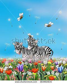 Spring. Spring scene poster. Happy couple zebras walking in Spring garden, sunny day. Festive background sky, flowers, green grass, zebras animal, bee. Holiday Illustration.  Birthday invitation.