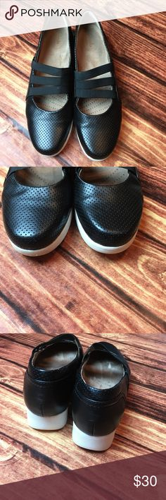 {Clarks} sneakers Sz 10. Comfy, black, three strap Mary Jane style {Clarks} sneakers. Size 10. Nearly new condition! Clarks Shoes Sneakers