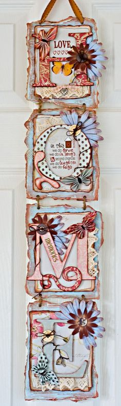 April 09 kit - HOME wall hanging by Di Arts And Crafts, Paper Crafts, Diy Crafts, Diy Paper, Decoupage, Craft Projects, Projects To Try, Craft Ideas, Bunting Banner