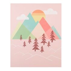 Hang this poster decal on your wall, and there will be no gap when it comes to good style.  This piece features a beautiful nature scene with colorful mountains and a bright sunset.