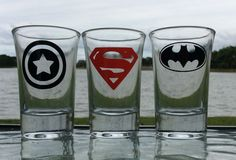 Set of 3 Super heroes Shot Glasses Captain by ChampagneToast