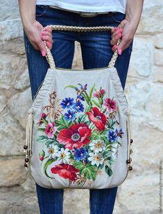 """Купить Сумка """"Синий лен"""" - цветочный, вышивка, сумка женская, лен, сумка ручной работы"""