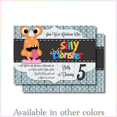 Personalized Printable Invitations | Little Monster 2| Birthday