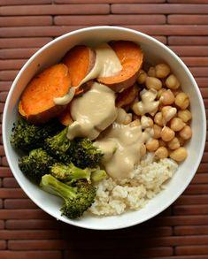miso sesame sweet potato and broccoli bowl from tastespace