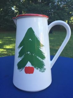 Marimekko-Pfaltzgraff-VINTAGE-Christmas-Tree-Pitcher-Vase-Holiday-China-RARE-Oy