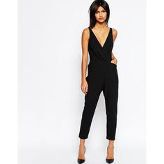 ASOS Cami Wrap Jumpsuit with Peg Leg ($63) ❤ liked on Polyvore featuring jumpsuits, black, asos cami, asos, polyester camisole, wrap jumpsuit and asos jumpsuit