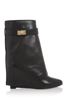 I die ...Givenchy Shark Lock black leather wedge ankle boots | NET-A-PORTER