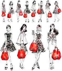 Carolina Herrera Girls - Fashion illustration by Sunny Gu #fashion #illustration #fashionillustration #sunnygu