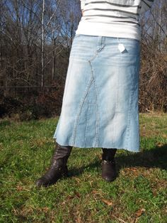jean skirt...looks so easy to make... sew fly closed and add stretch knit waistband for comfort...