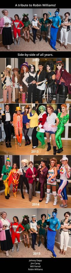Best group costume four years in a row. They did a tribute to Robin Williams this Halloween! - 9GAG