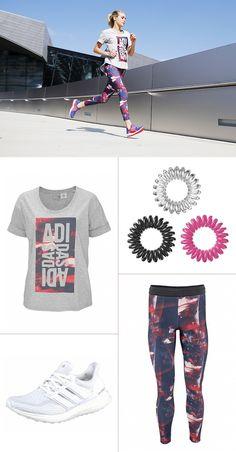 Dynamisches Design, das nicht nur beim Sport punktet. Die coolen Prints auf Shirt und Tights von Adidas lassen sich auch super mit anderen Casual-Styles zu lässigen Streetwear-Looks kombinieren.