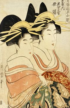 kitagawa utamaro hairdressing. two courtesans, by kitagawa utamaro woodblock print. hairdressing